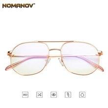 Офисные женские большие очки в оправе из розового золота Классические