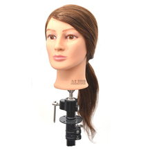 Real Hair Mannequin Head With Human Hair 22 Inches Hairdressing Head Makeup Practice Head Head Dolls For Hairdressers
