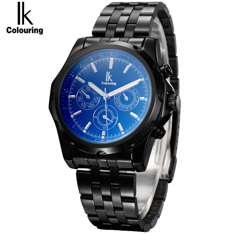 IK colouring Sub Dials 6 Hands 24 Hours Function Automatic Mechanical Luxury Stainless Steel Sports Men Watch Relogio Masculino ik colouring automatic mechanical watch decorative small dials luminous pointer hollow back case stainless steel men wristwatch