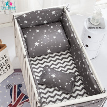 Cotton Soft Baby Bed Crib Bumper Include Pillow/ Bumpers/ Sheet/Quilt Cover Newborn Bed Bumpers Baby Bedding Sets Gray Stars