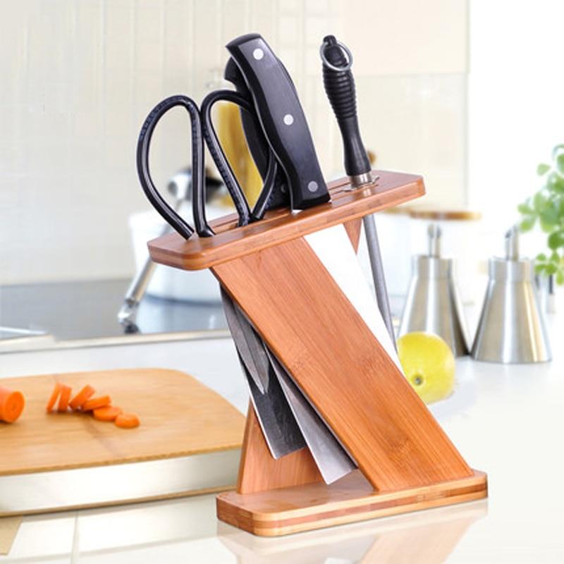 Creative Wood Kitchen Knife Holder Scissors Sharpener Multi purpose Storage Rack Bamboo Knife Block Kitchen Accessories