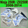 Fit Ninja 250R Fairing kit 2008 2009 2010 - 2014 for Kawasaki ZX250R EX250 blue flames  kits 08 09 10 11 12 13 14 fairings set
