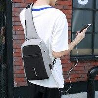 Chống Trộm Ba Lô Men Crossbody Túi với USB Charger Độc Dây Đeo Nam Ngực Sling Bag Không Thấm Nước Bagpack Lưu Trữ Trở Lại Gói