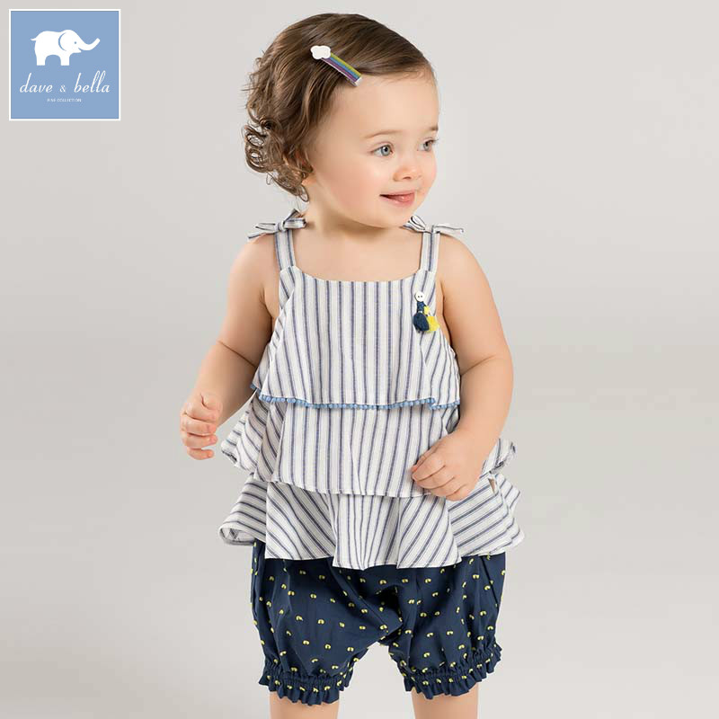 Dave bella summer baby girls clothing sets children fashion striped suits kids high quality clothes DBZ7601Dave bella summer baby girls clothing sets children fashion striped suits kids high quality clothes DBZ7601