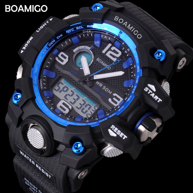 men sport watches BOAMIGO brand LED digital watches military analog quartz watch rubber blue 50M waterproof reloj hombre F5100