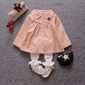 Casual Otoño Niños Casaco de Manga Larga Gira el Collar Abajo Chaquetas de la Rebeca Del Bebé Niños Outwear Abrigos Trench MT813