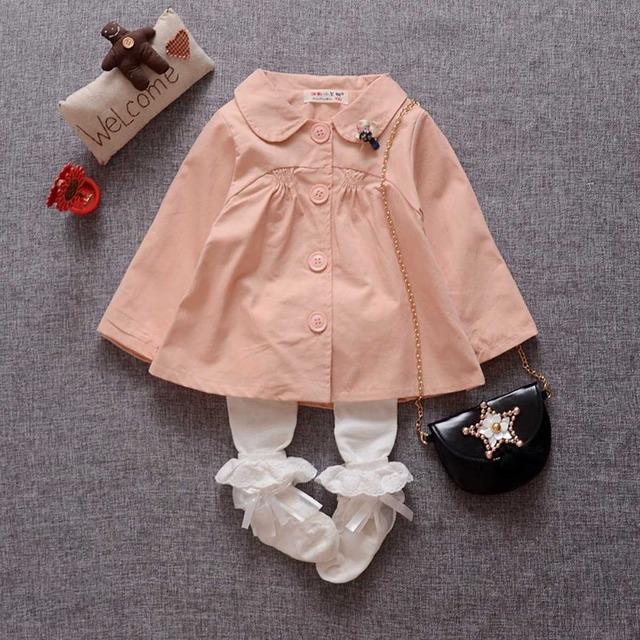 Outono Casual Crianças Casaco Manga Comprida Turn Down Collar Casacos Cardigan Bebê Crianças Casacos Outwear Trincheira MT814