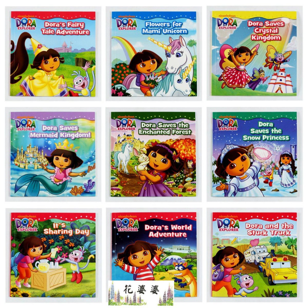11PCS 20*20CM Dora the Explorer in all Learning and education classic story baby books for fun girl's gift book kid's love story lift the flap word book baby board books learning and educational picture story books stereo book learning word wholesale