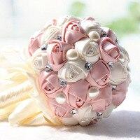 Свадебный букет жемчуг искусственный атласная роза Свадебный холдинг цветы невесты ручной работы броши