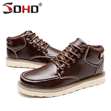 2016 Autumn Winter Brand Men Shoes Martin Boots Suede Leather Warm Snow Boots Outdoor Casual Timber Boots Botas Hombre