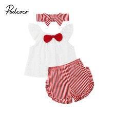 3 предмета, новинка года, летний комплект для девочек, милая одежда для маленьких девочек на день рождения красная полосатая одежда с короткими рукавами и оборками, Прямая поставка