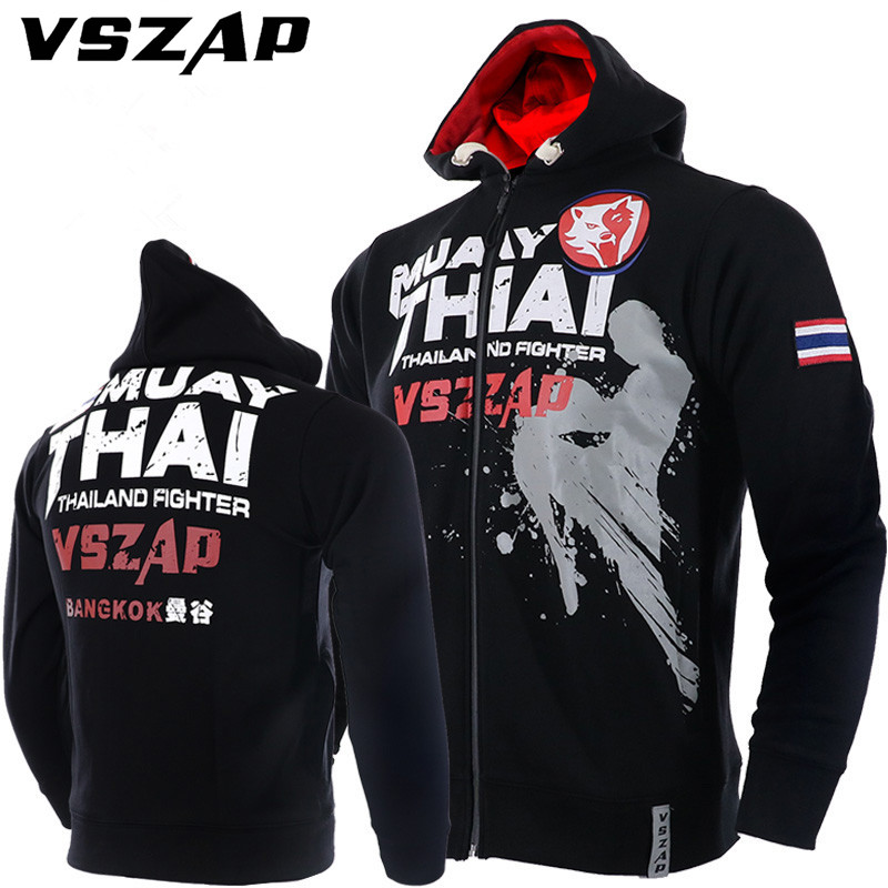 VSZAP Warm Winter Boxing Shirt Hoodie Tracksuits Fight MMA Gym Tee Shirt Boxing Fitness Sport Muay Thai Men Camisetas Boxeo