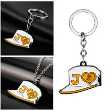 Anime JOJOS BIZARRE ADVENTURE Keychain Alloy Kujou Jotarou Student Hats DIO Caps Keyring Holder Link Chains llaveros Men Gift