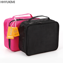 HHYUKIMI Brand Oxford Cosmetic Case Large Capacity Waterproof Professional Beautician Cosmetics Organizer Makeup Bag Box hhyukimi three layer make up bag case travel cosmetics organizer lnternal adjustable cosmetic box portable suitcase makeup case