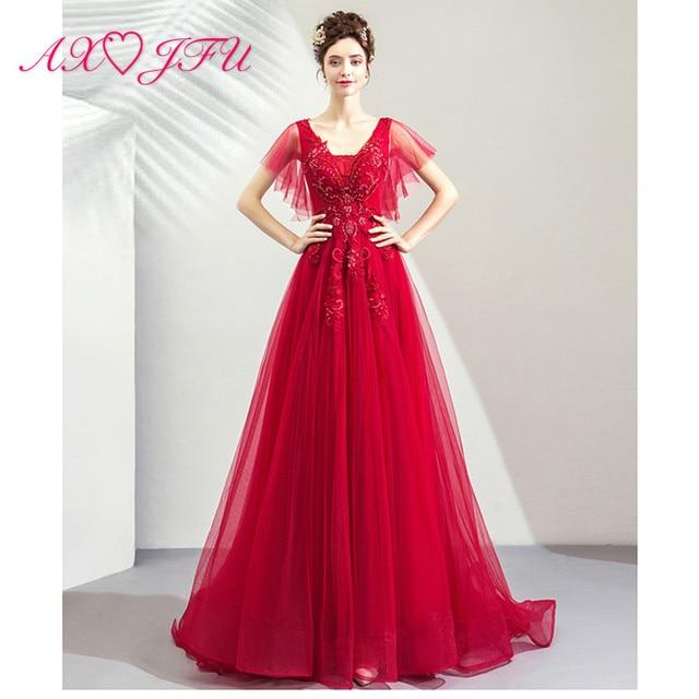 separation shoes 5f1fc 9b4e5 US $97.99 10% di SCONTO|AXJFU della principessa fiore rosso del merletto  del vestito da sera vintage red rose perline di cristallo beach illusion ...