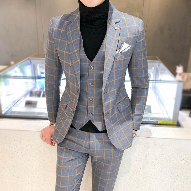 British 3Piece Men Suit Autumn Winter New Wedding Suits For Men Business Formal Plaid Suit Men Slim Fit Casaco Masculino 5XL-S