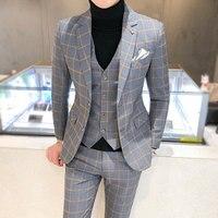 British 3Piece Men Suit Autumn Winter New Wedding Suits For Men Business Formal Plaid Suit Men Slim Fit Casaco Masculino 5XL S