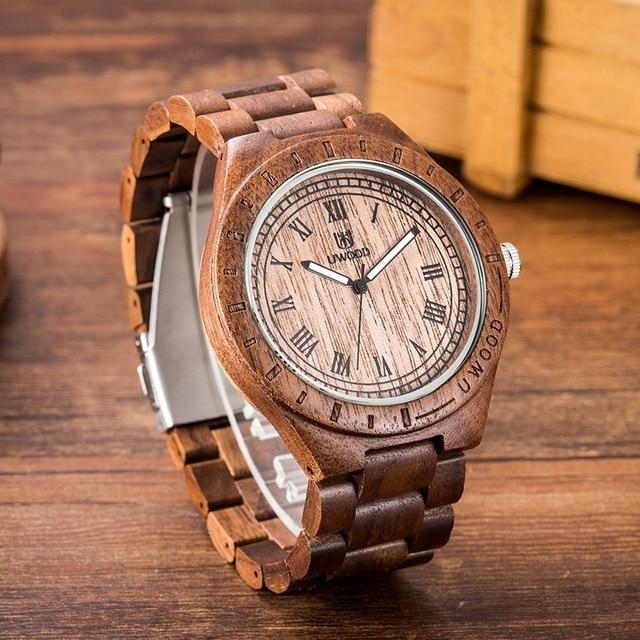 004a054e8c6 UWOOD Natural Sandália De Madeira Relógio de Madeira Relógio De Pulso para Homens  Presente Artesanal