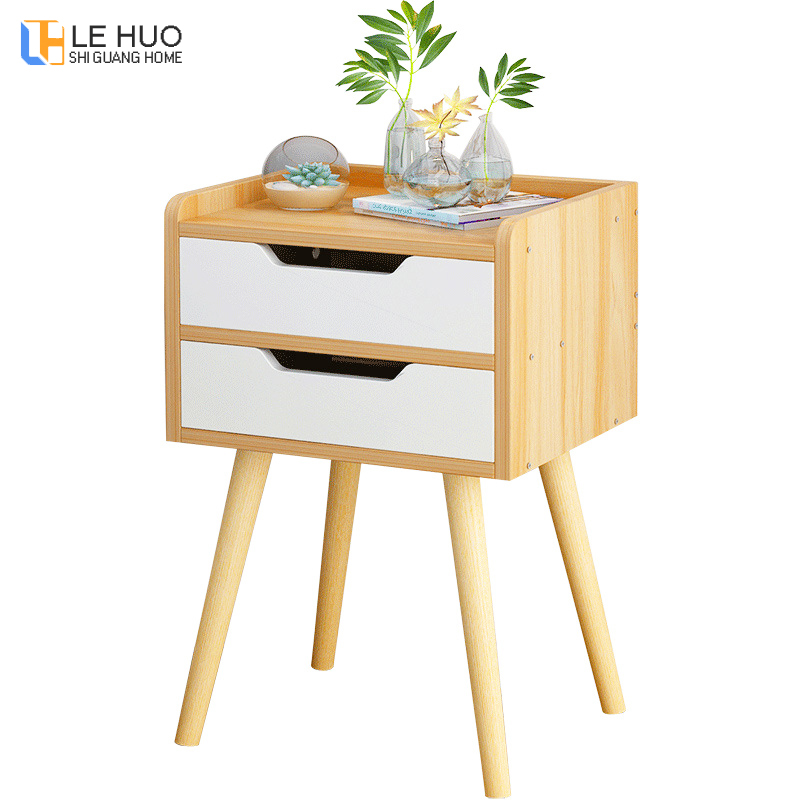 Nordic High Foot Nightstand Wooden Bedside Table With Drawer Organizer Storage Cabinet Fashion Mini Desk Bedroom Furniture