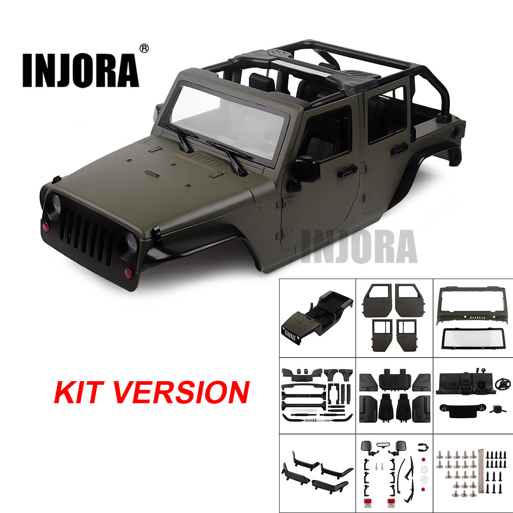 INJORA Unassembled Kit 313mm Wheelbase Convertible Open Car Body Shell For 1/10 RC Crawler Axial SCX10 90046  Jeep Wrangler