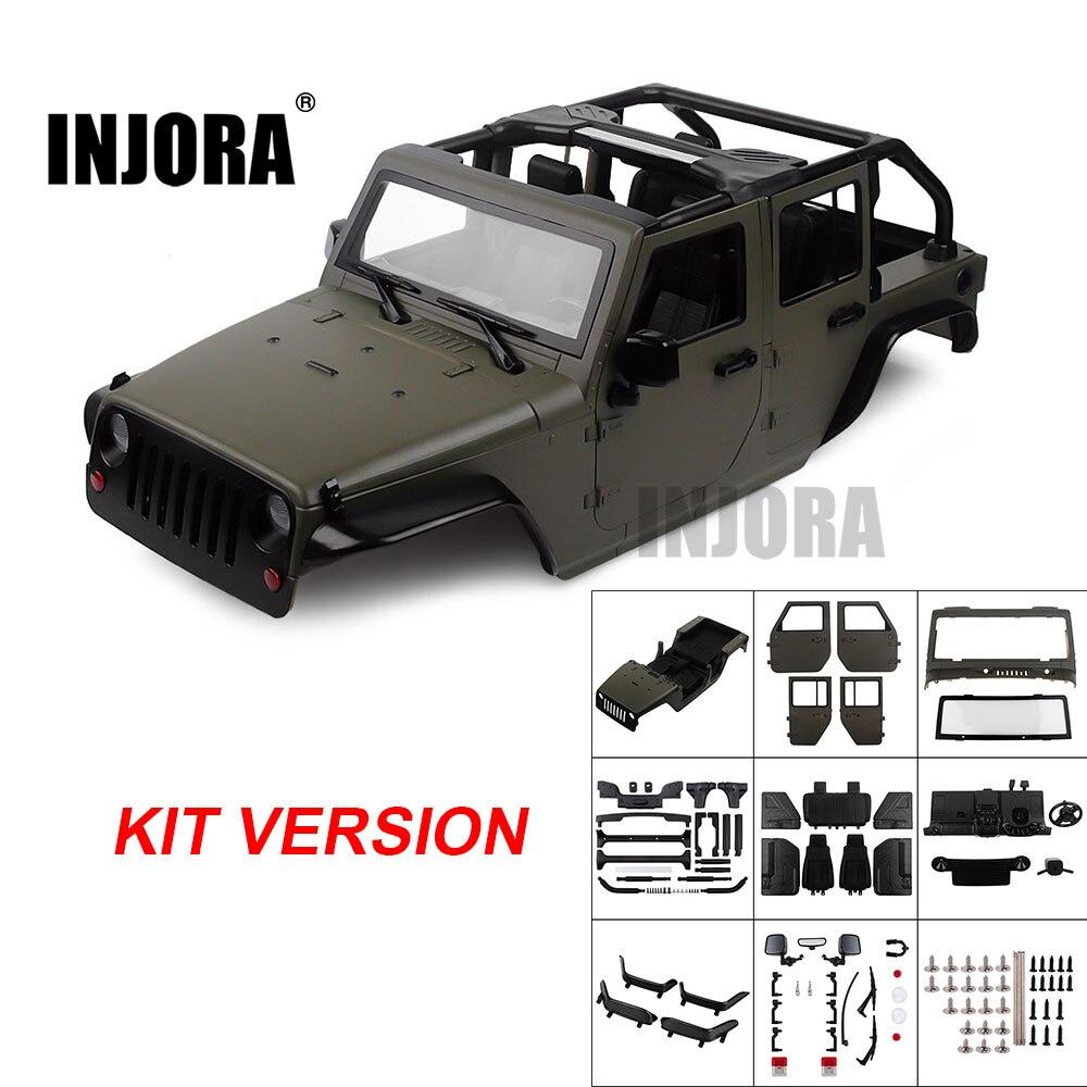 Kit Desmontado INJORA Corpo Do Carro Shell 313 milímetros de Distância Entre Eixos Conversível Aberto para 1/10 RC Crawler Axial SCX10 90046 Jeep Wrangler