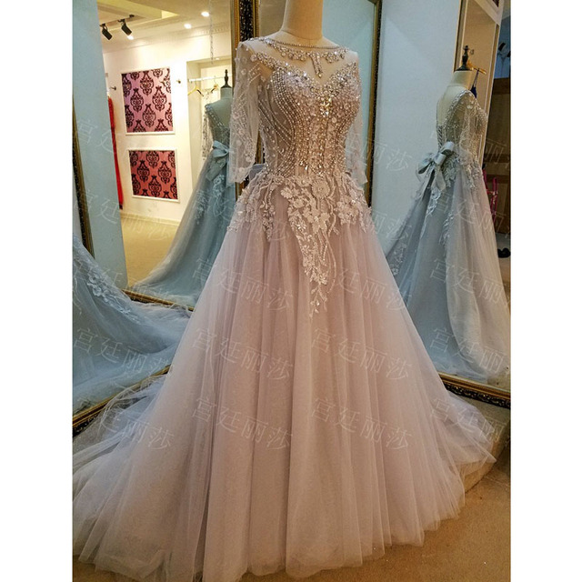 Custom Made Evennig שמלה אלגנטית ארוכות אפליקציות טול פורמליות כותנות Vestido De Festa פורמליות שמלה עם שרוולי Robe De Soiree