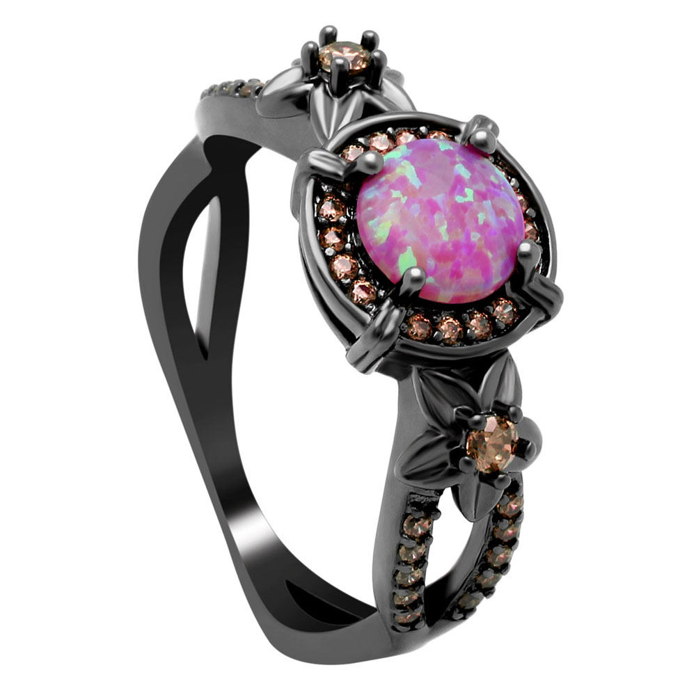 Red Fire Opal Rings jewelry Black Wedding rings for women Blue