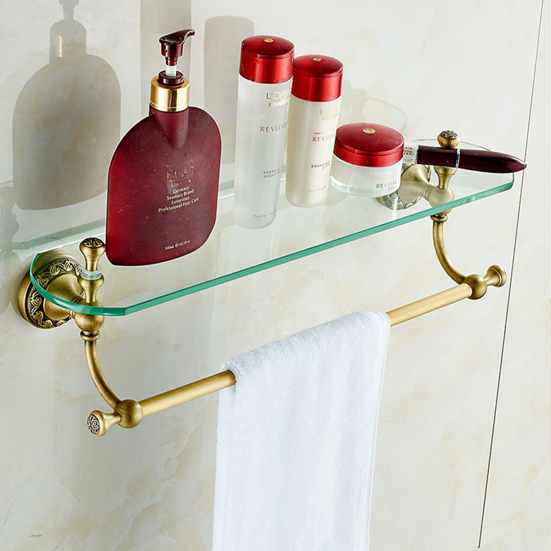 Glass Tier Wall Mounted Bathroom Shelf Antique Brass Cosmetic Shelf Bathroom Fitting Accessories Free Shipping! DG-8315F free shipping wholesale and retail promotion new antique brass bathroom accessories embossed shelf cosmetic dual glass tiers