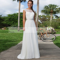 Spring Beach Wedding Dresses Hot Sale 2016 Cap Sleeve Sheer Scoop Neckline A Line Chiffon Sexy