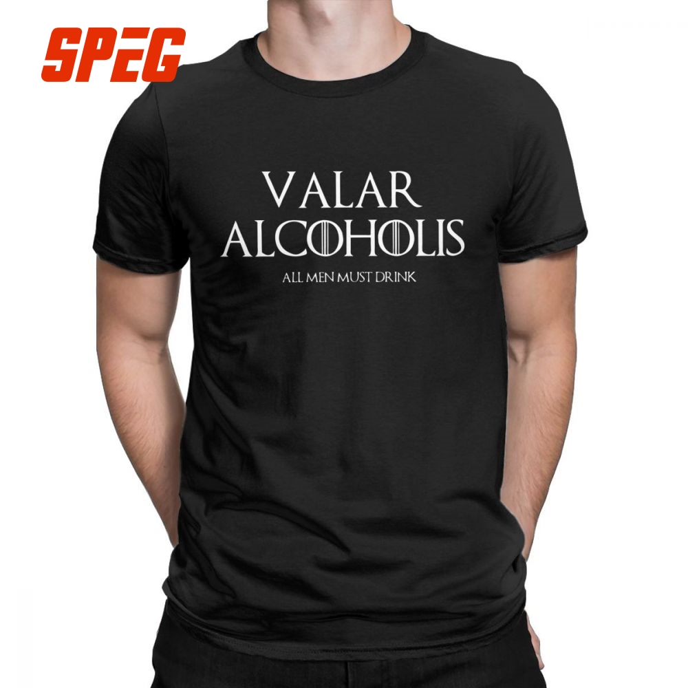 Game of Thrones Valar Alcoholis   T     Shirt   Men Cotton   T  -  Shirt   Arya Stark Alcohol Beer Wine Mashup Tee Clothes Plus Size Tops