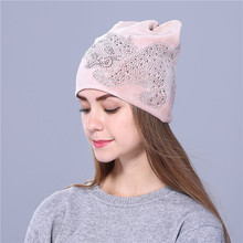 Xthree cute Rhine stone kitty Flannelette Autumn winter hat for women girls beanies Skullies gorras