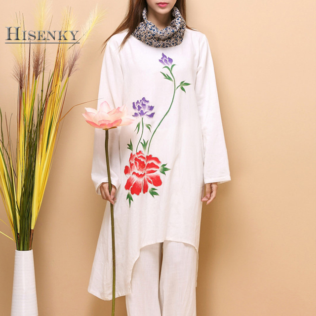Hisenky Hand Painted Peony Pure Linen Dress 2018 Autumn Winter Robe Floral  Turtelneck Long Sleeve White 31a8dd7d5762