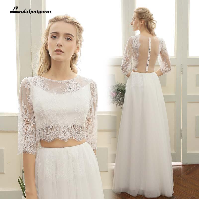Backless Wedding Dresses 2019: Two Pieces Beach Wedding Dresses 2019 Backless Boho White