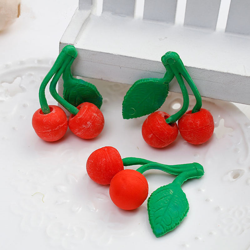 Lovely Fruit 3D TRP Eraser Correction Supplies Cherry Pattern Erasers Novelty For Kids Student Office&School Supplies,4PCs