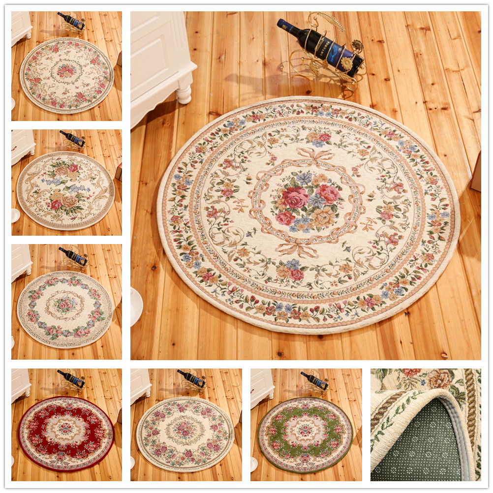 Round Dornier Jacquard Simple Countryside Carpet For Living Room Flower Bedroom Rugs And Carpets Door Mat