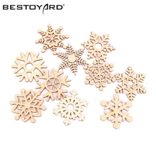 BESTOYARD 10pcs Assorted Christmas Tree Ornament Wooden Snowflakes Gift Tag Wood Ornament For Weding Christmas DIY Accessories