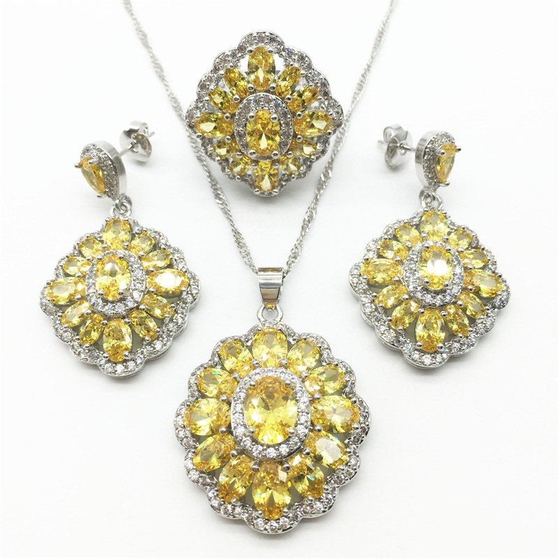 Gold Yellow Topaz 925 Sterling Silver Jewelry Sets AAA Zircon Necklace Pendant font b Drop b