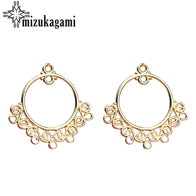 25mm Zinc Alloy Charms Flat Gold Round Shape Hollow Circle Connector Charms For DIY Earrings Jewelry Making Finding Accessories