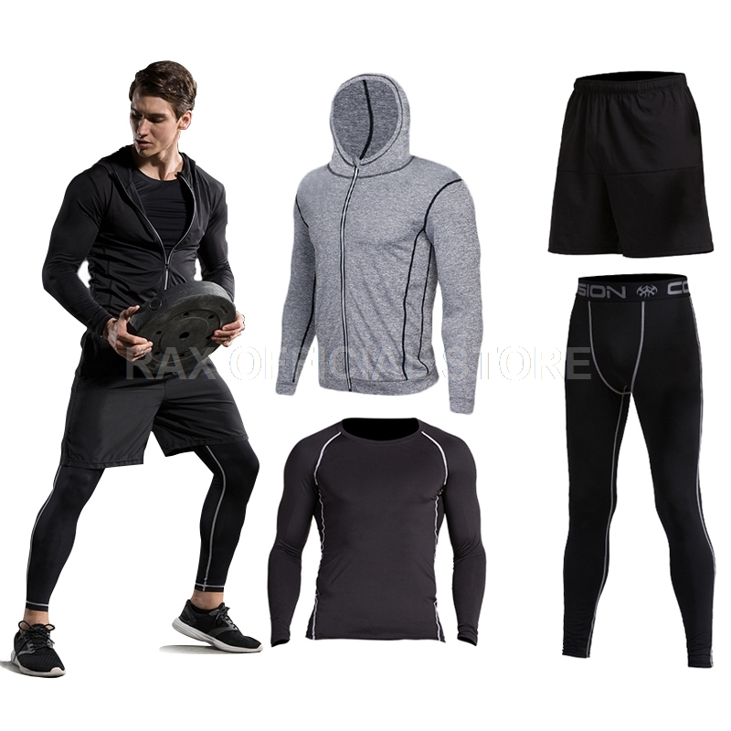 2018 vansydical mens sport suit running suits 5pcs men gym
