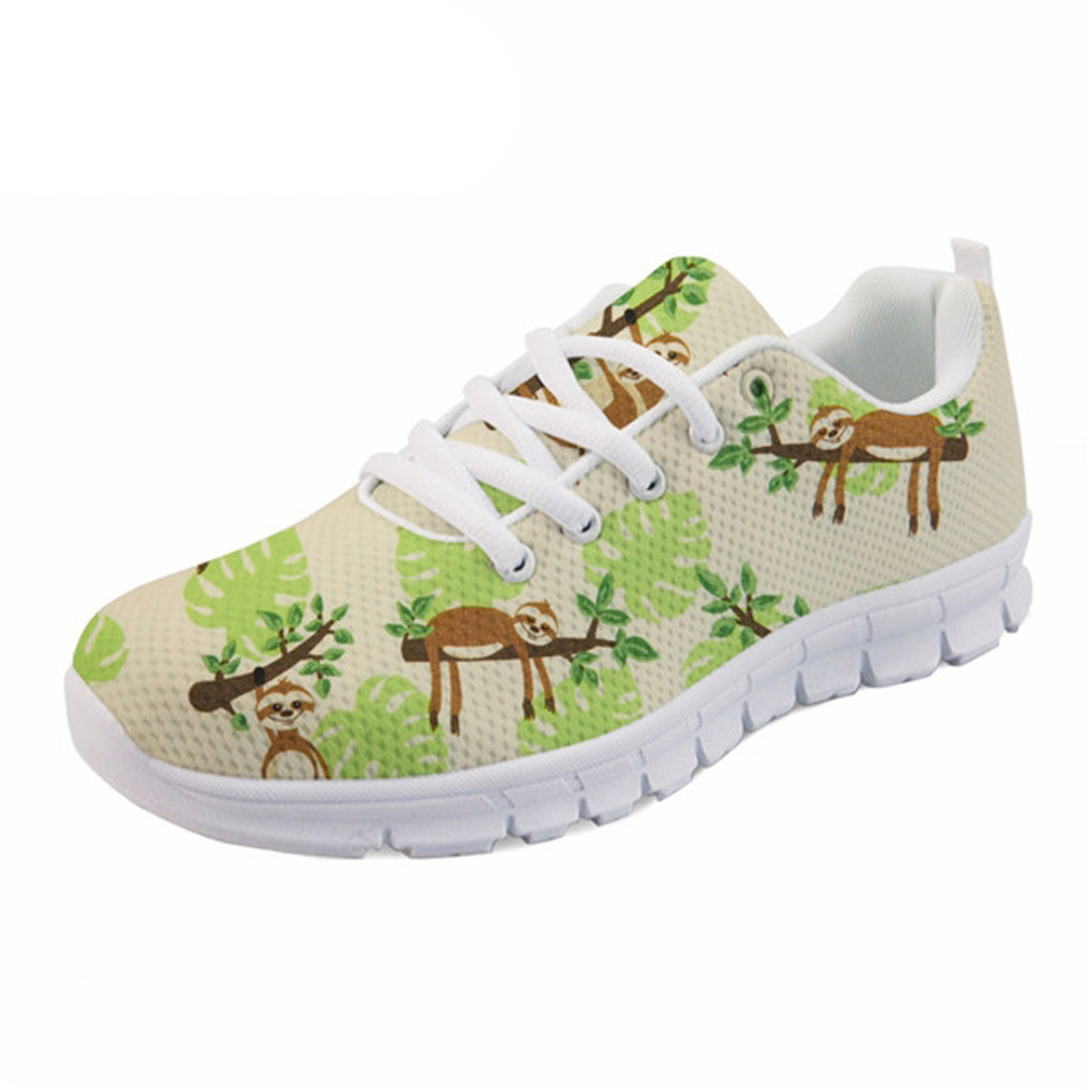 NOISYDESIGNS Lace-up Casual Women Shoes flat Cute Sloth Cartoon Pattern Ladies Sneakers Comfortable for Female