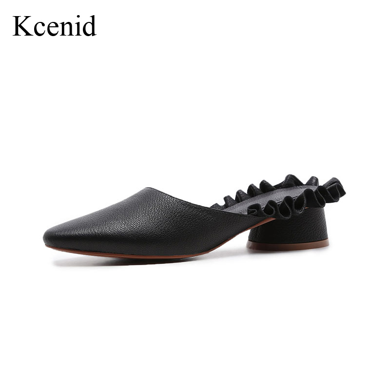 Kcenid New genuine leather shoes woman thick heels slip on mules 2018 summer pumps fashion ruffles round toe party shoes black цена 2017