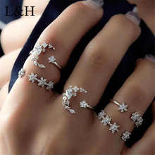 L&H 5 pcs/Set Classic Luxurious Crystal Geometric Sliver Color Rings For Women Charm Statement 2018 New Party Fashion Jewelry 2 feet passive crystal sliver 18 pcs