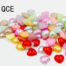 Многоцветный 72 шт./лот Размер 10 мм искусственный жемчуг полукруглый плоский с оборота бусины в форме сердца для плетения браслетов, Свадебные украшения