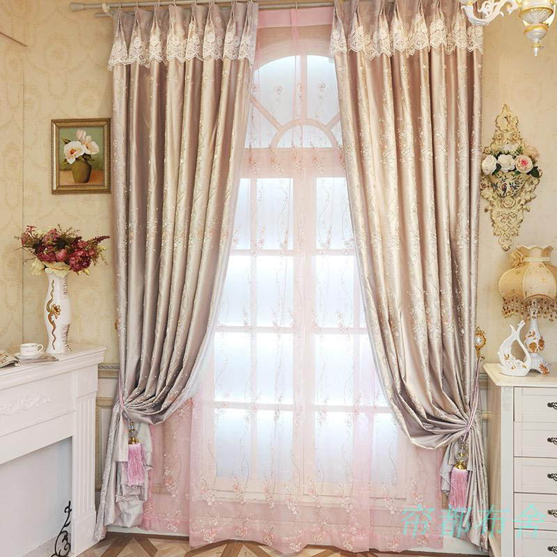 Korean style luxury embroidered silk curtains for living for Curtain designs for girls bedroom