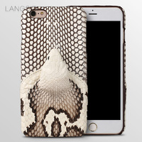 LANGSIDI Brand Phone Case Real Snake Head Back Cover Phone Shell For IPhone 6 Plus Full