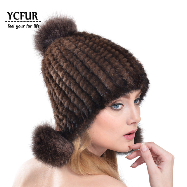 YCFUR Tampas de Inverno Quente Mulheres De Pele Natural de Pele De Vison De Malha chapéus Com a Fox Fur Pom pom Chapéus Gorros de Inverno Quente mulheres