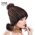 YCFUR Warm Women Fur Caps Winter Natural Knit Mink Fur Hats With Fox Fur Pom pom Hats Warm Winter Beanies Women