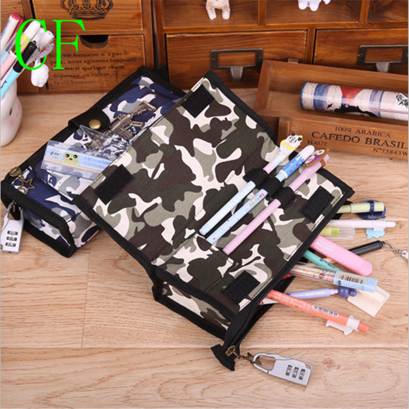 Camouflage military boys school pencil case CF pen bag stationery pencil bags in disguise school supplies code lock is fine robots in disguise 1 step changers