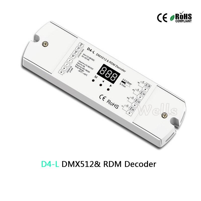 D4-L 4CH DMX512 decodificador CV 12-36 V 5A 5A * 4CH saída Decodificador DMX512 & RDM com display para definir o endereço dmx