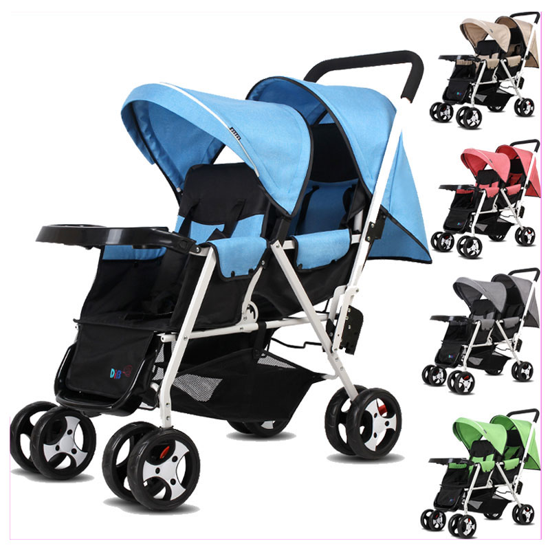 Can Sit Lying Twins Baby Stroller Lightweight Pram Folding Travel System Two Babies Double Stroller Cart Buggy Pushchair 1 M~4 Y twins baby stroller carriage cart light folding front and back seats can lie 180 degree double baby stroller for twins pushchair